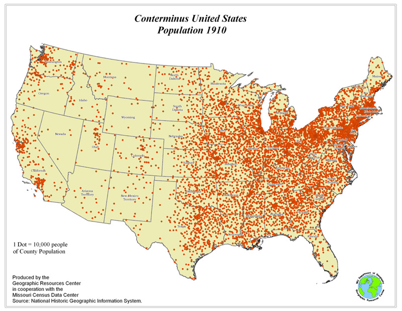 Conterminous USA Total Population Change 17902010
