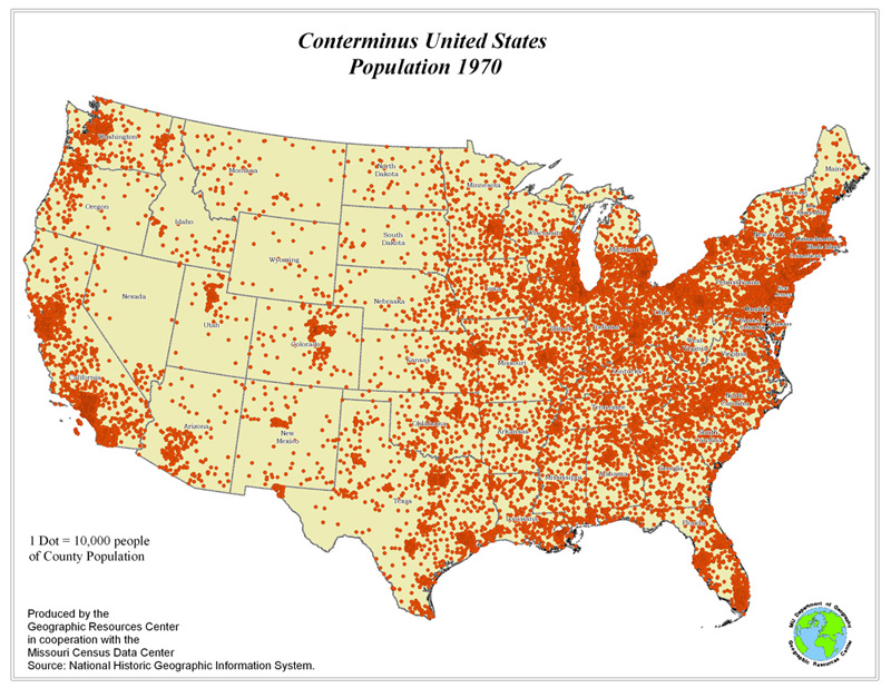 Conterminous USA Total Population Change - Us population density map 1790